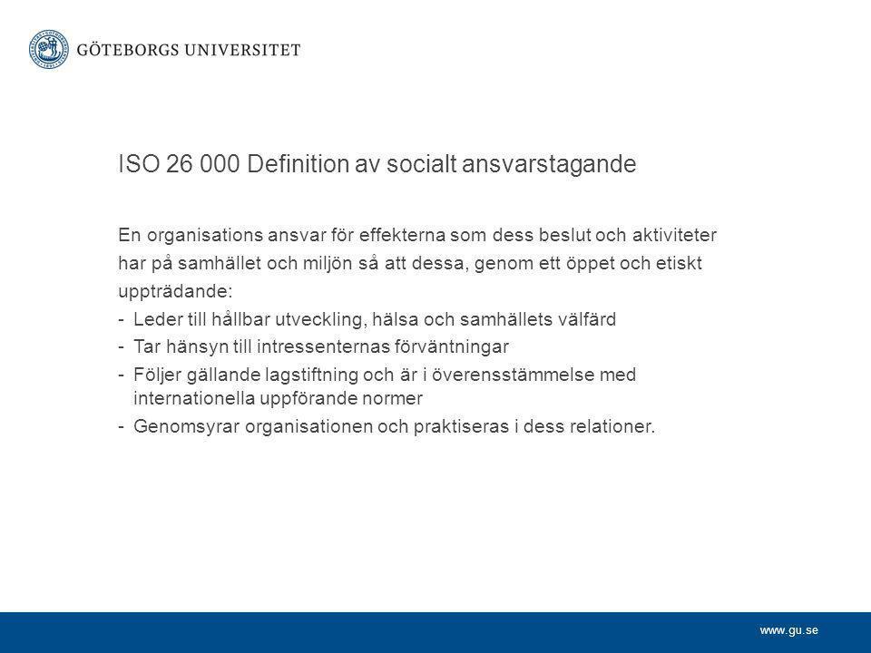 ISO 26 000 Definition av socialt ansvarstagande