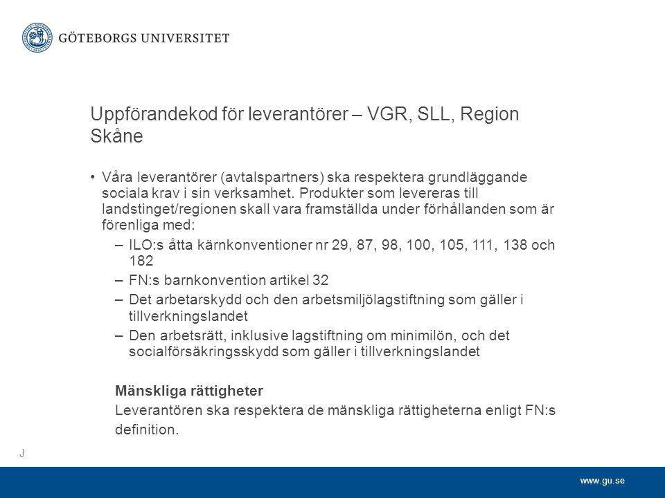 Uppförandekod för leverantörer – VGR, SLL, Region Skåne