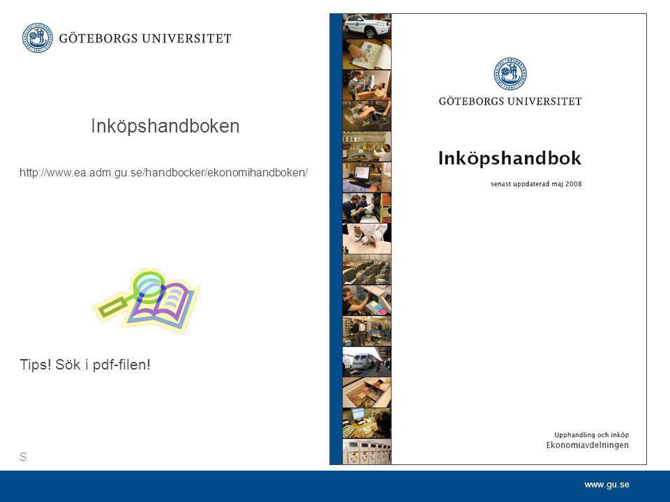 Inköpshandboken Tips! Sök i pdf-filen!