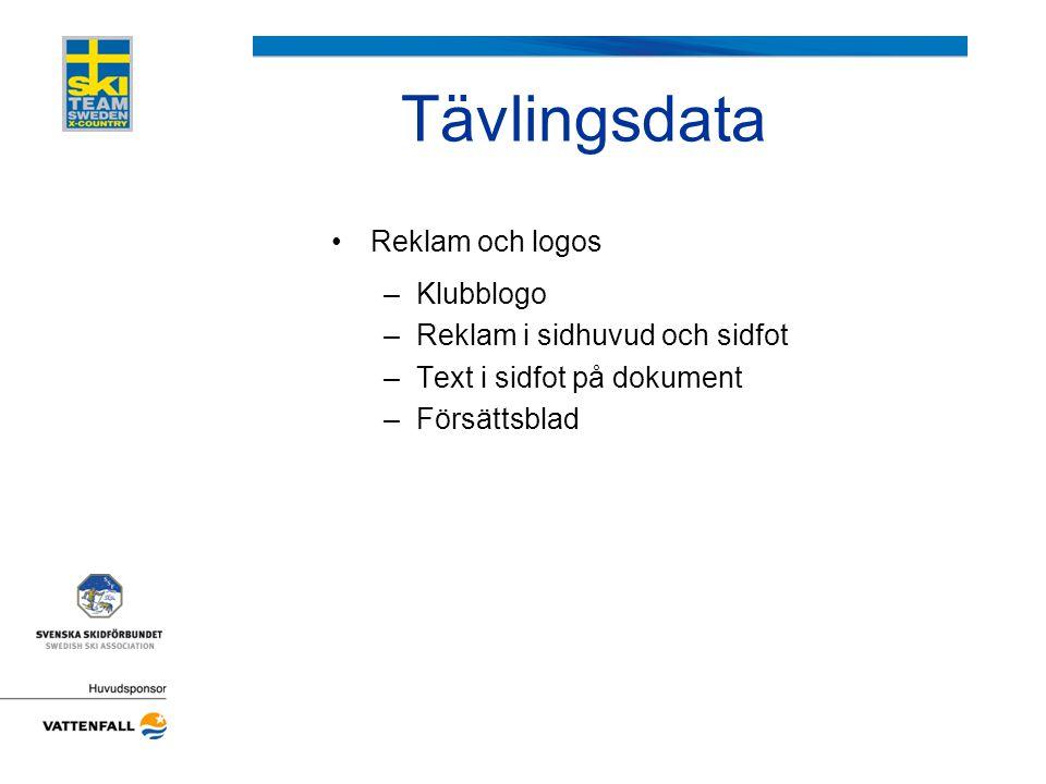Tävlingsdata Reklam och logos Klubblogo Reklam i sidhuvud och sidfot
