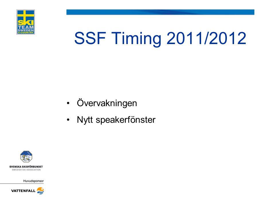 SSF Timing 2011/2012 Övervakningen Nytt speakerfönster
