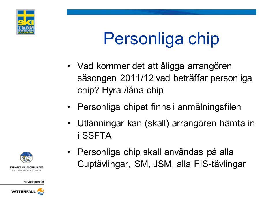 Personliga chip Vad kommer det att åligga arrangören säsongen 2011/12 vad beträffar personliga chip Hyra /låna chip.