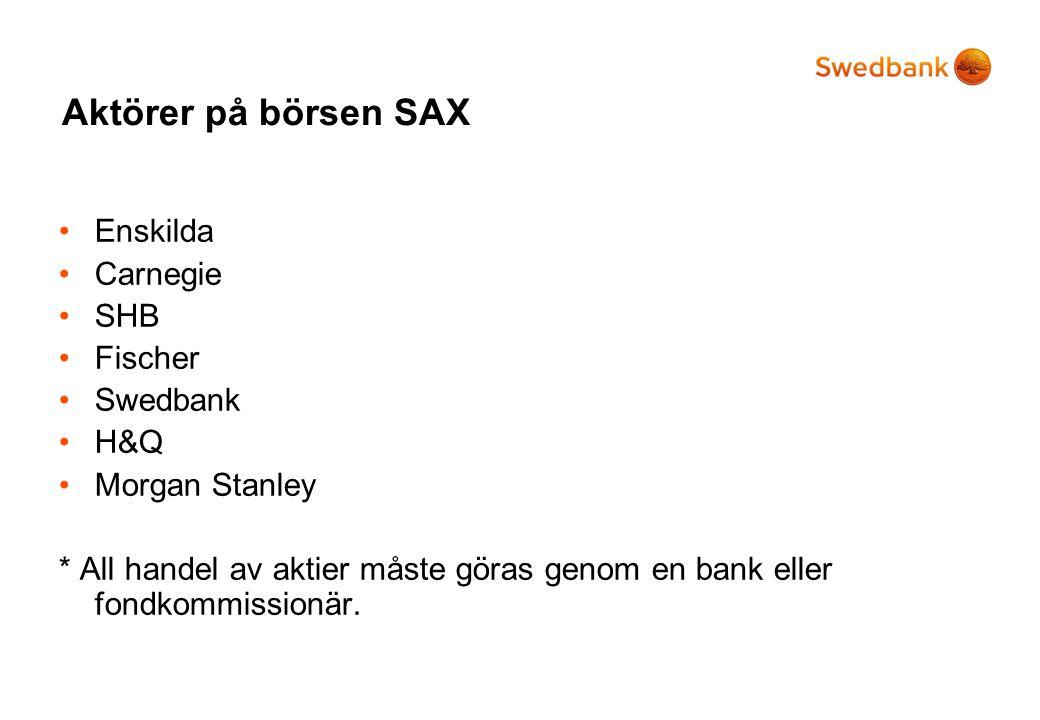Aktörer på börsen SAX Enskilda Carnegie SHB Fischer Swedbank H&Q