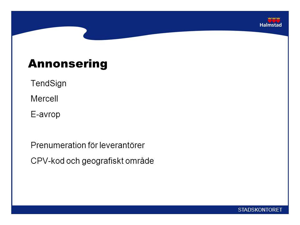 Annonsering TendSign Mercell E-avrop Prenumeration för leverantörer