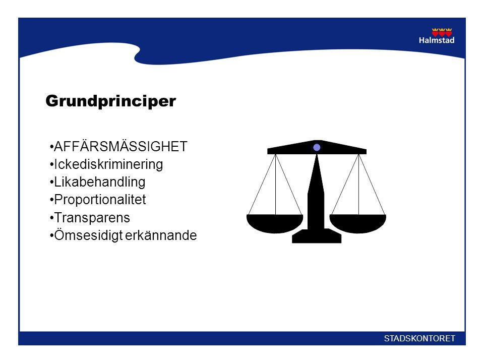 Grundprinciper AFFÄRSMÄSSIGHET Ickediskriminering Likabehandling