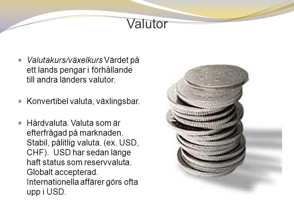 Valutor Valutakurs/växelkurs Värdet på ett lands pengar i förhållande till andra länders valutor. Konvertibel valuta, växlingsbar.
