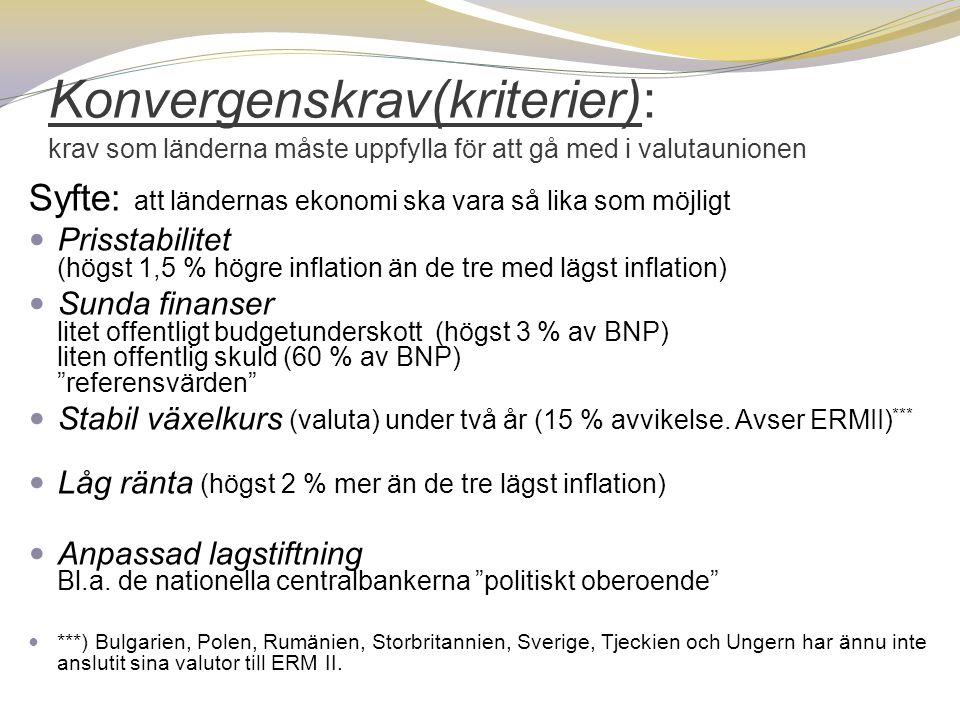 Konvergenskrav(kriterier): krav som länderna måste uppfylla för att gå med i valutaunionen