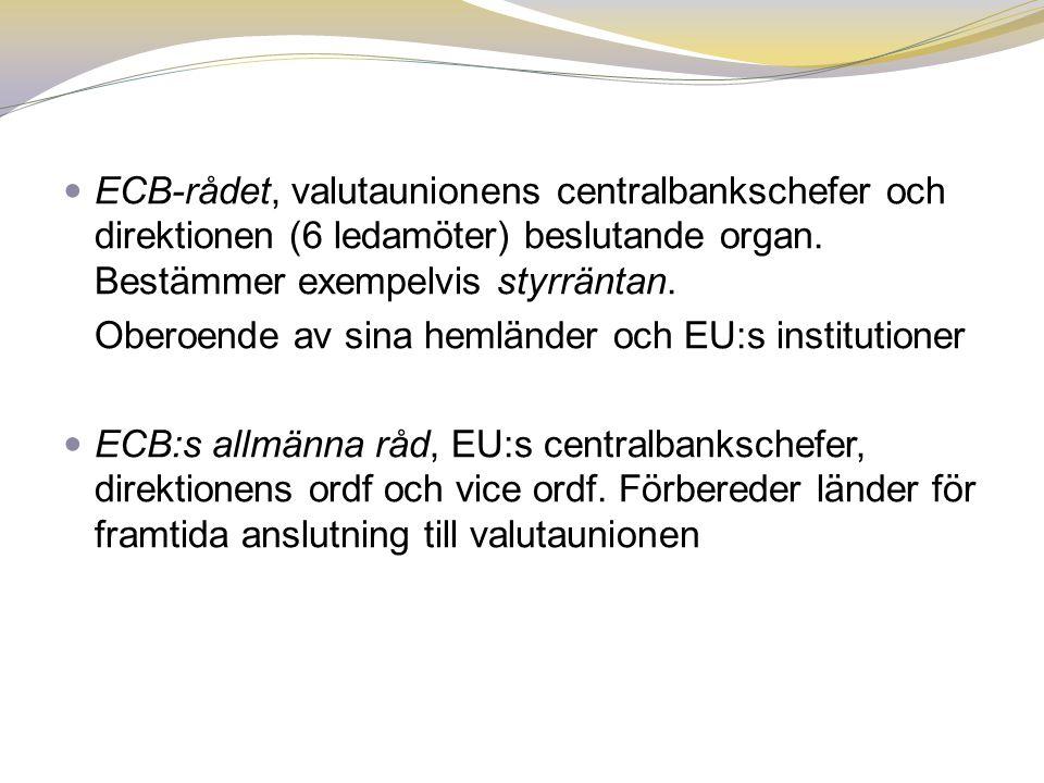 ECB-rådet, valutaunionens centralbankschefer och direktionen (6 ledamöter) beslutande organ. Bestämmer exempelvis styrräntan.