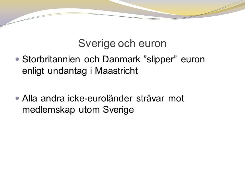 Sverige och euron Storbritannien och Danmark slipper euron enligt undantag i Maastricht.