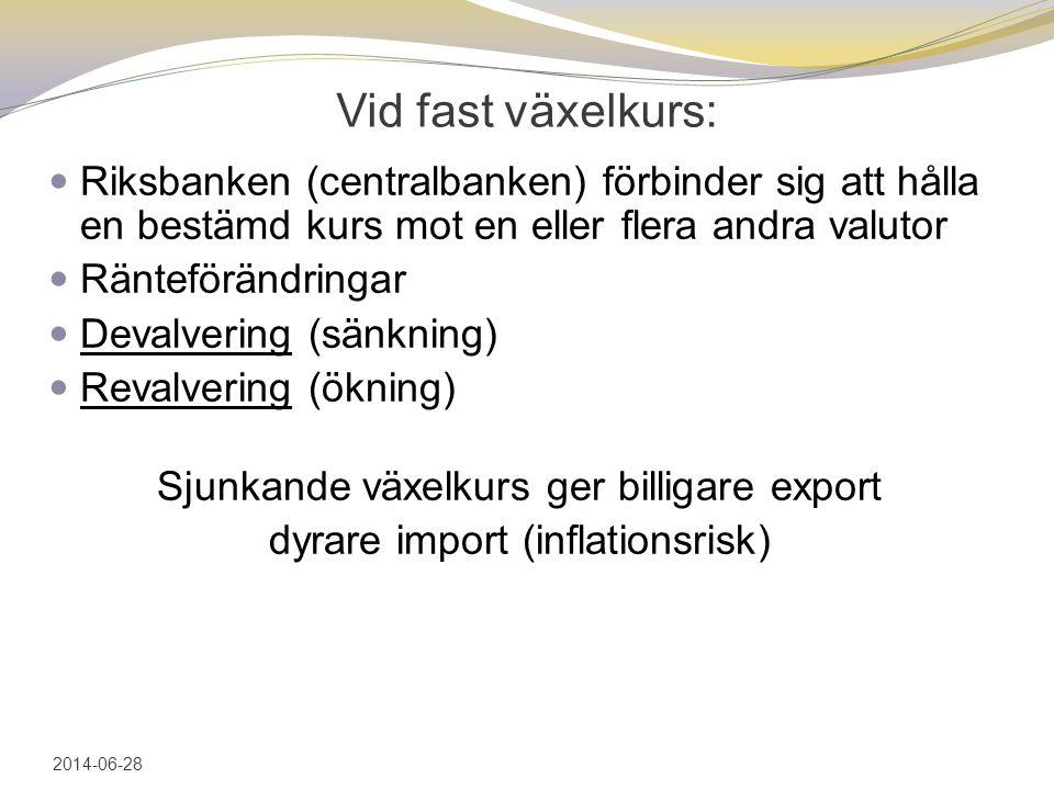 2017-04-03 Vid fast växelkurs: Riksbanken (centralbanken) förbinder sig att hålla en bestämd kurs mot en eller flera andra valutor.