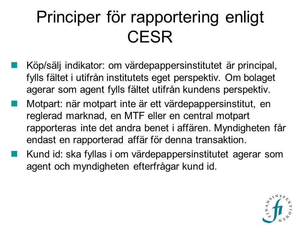 Principer för rapportering enligt CESR