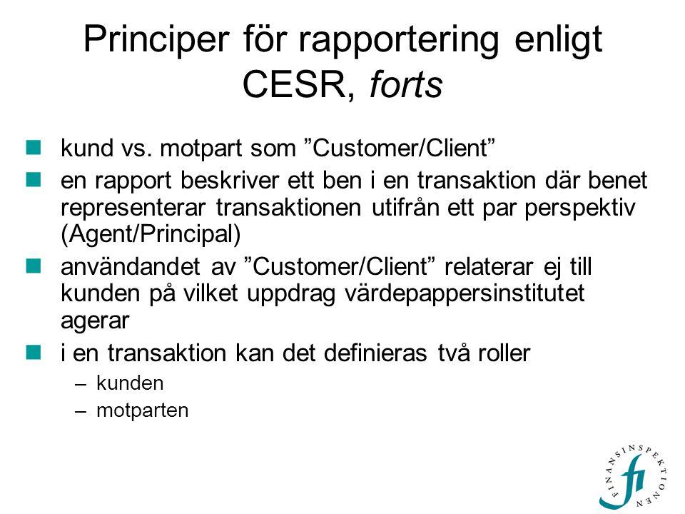 Principer för rapportering enligt CESR, forts