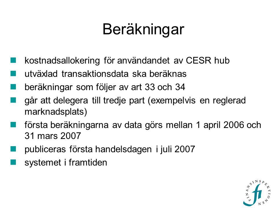 Beräkningar kostnadsallokering för användandet av CESR hub