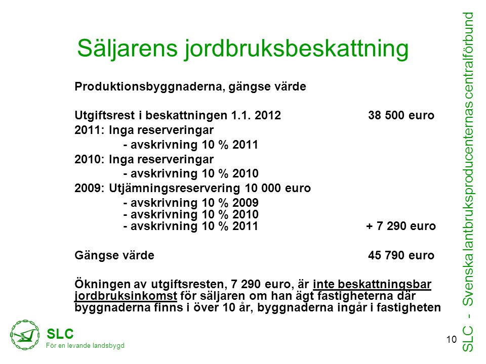 Säljarens jordbruksbeskattning