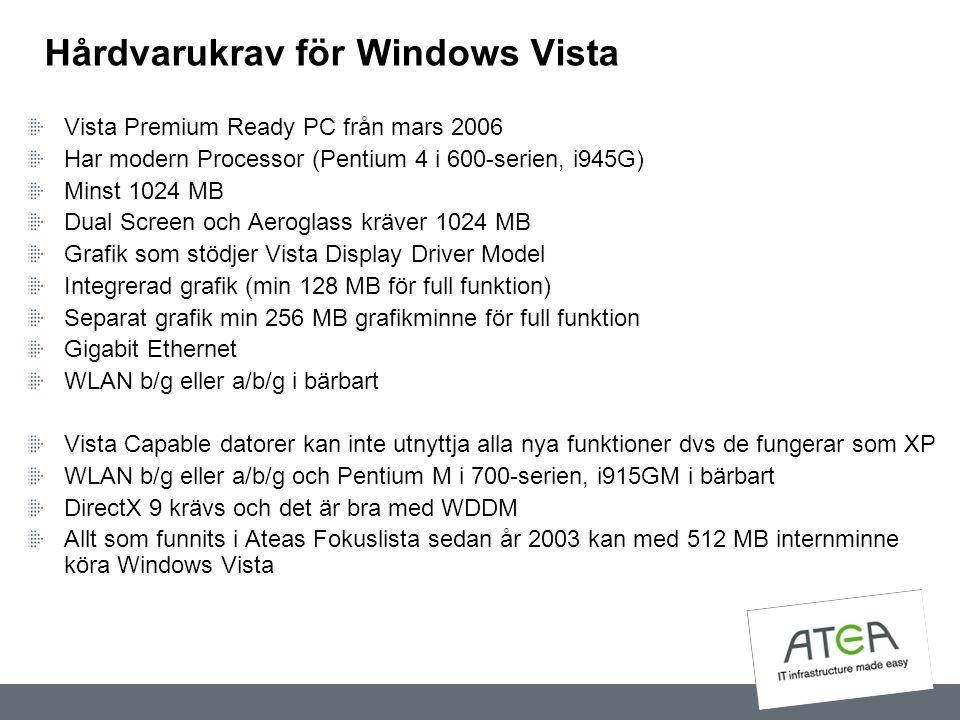 Hårdvarukrav för Windows Vista