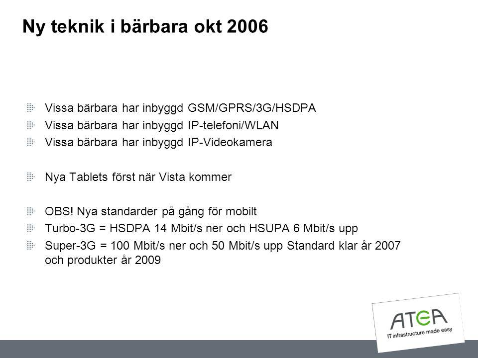 Ny teknik i bärbara okt 2006 Vissa bärbara har inbyggd GSM/GPRS/3G/HSDPA. Vissa bärbara har inbyggd IP-telefoni/WLAN.