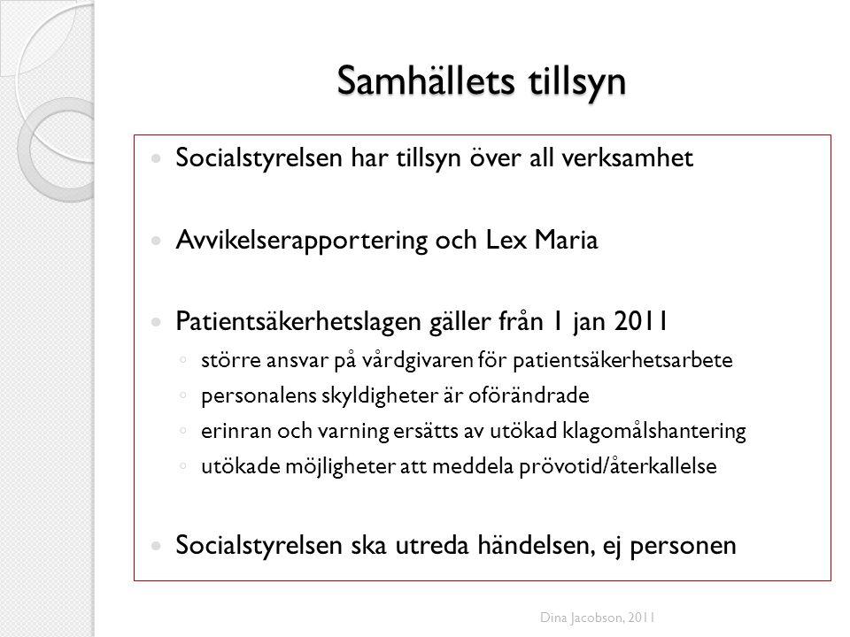Samhällets tillsyn Socialstyrelsen har tillsyn över all verksamhet