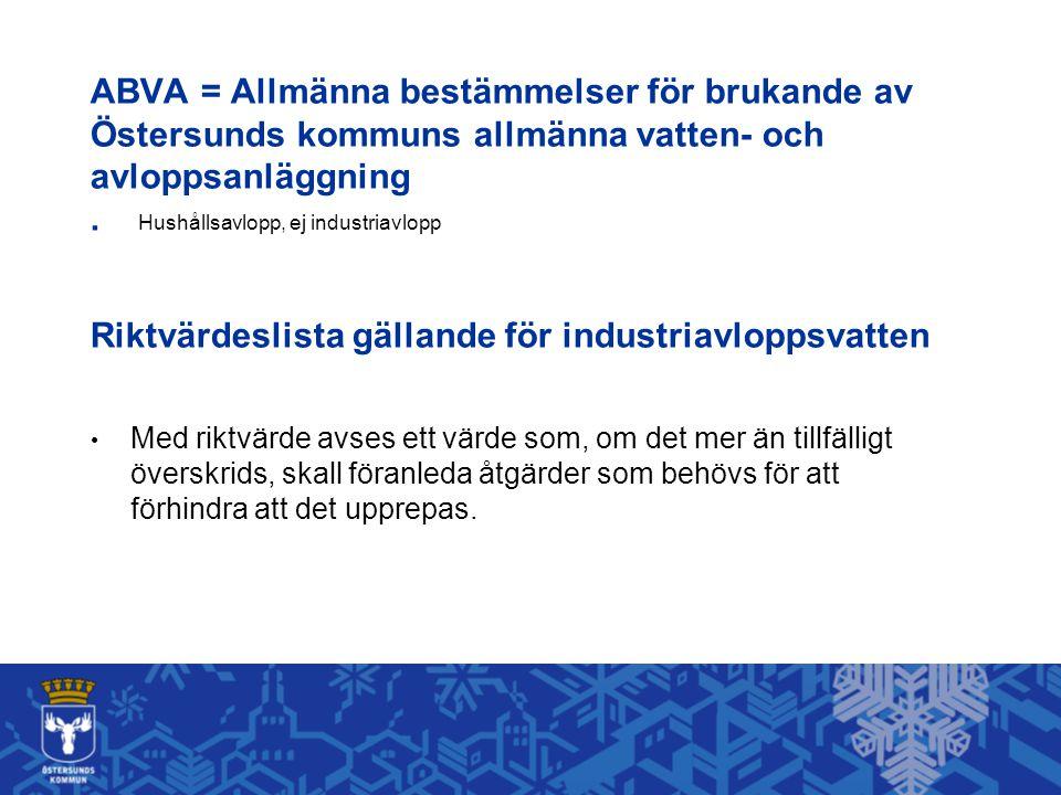 ABVA = Allmänna bestämmelser för brukande av Östersunds kommuns allmänna vatten- och avloppsanläggning . Hushållsavlopp, ej industriavlopp Riktvärdeslista gällande för industriavloppsvatten