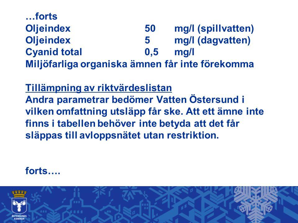 …forts Oljeindex. 50. mg/l (spillvatten) Oljeindex. 5