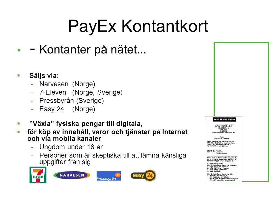 PayEx Kontantkort - Kontanter på nätet... Säljs via: Narvesen (Norge)