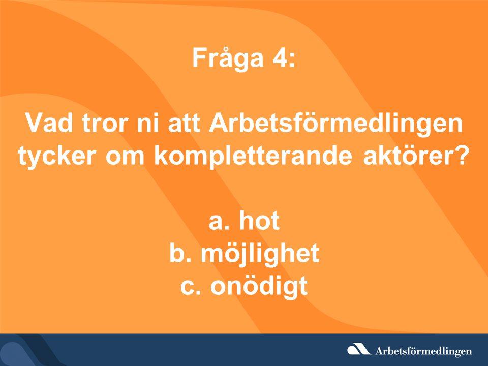 Fråga 4: Vad tror ni att Arbetsförmedlingen tycker om kompletterande aktörer.