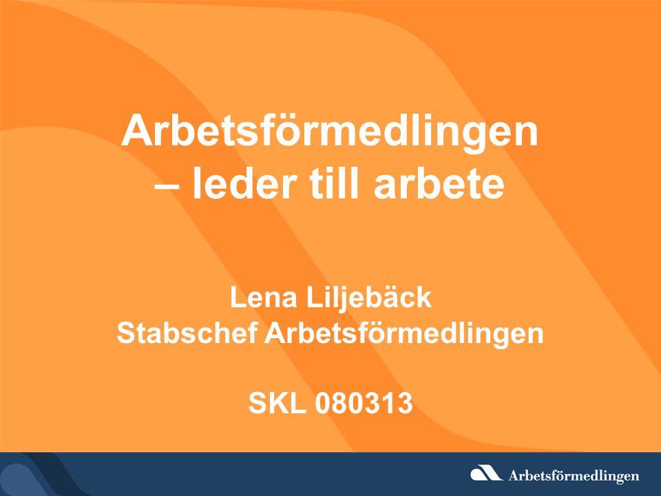 Arbetsförmedlingen – leder till arbete Lena Liljebäck Stabschef Arbetsförmedlingen SKL 080313