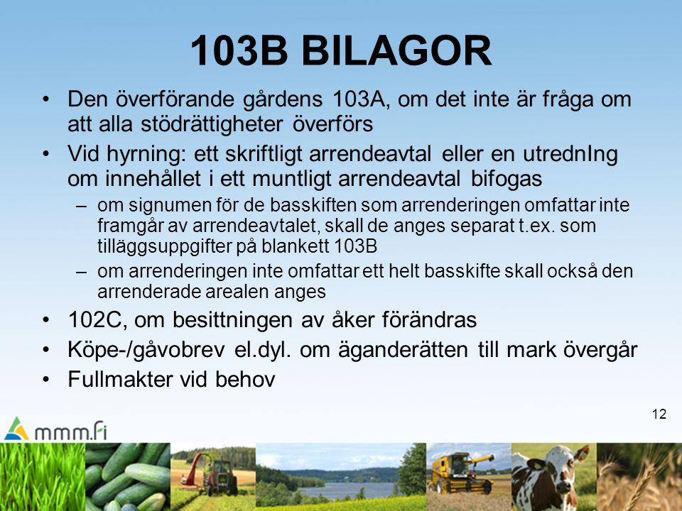 103B BILAGOR Den överförande gårdens 103A, om det inte är fråga om att alla stödrättigheter överförs.