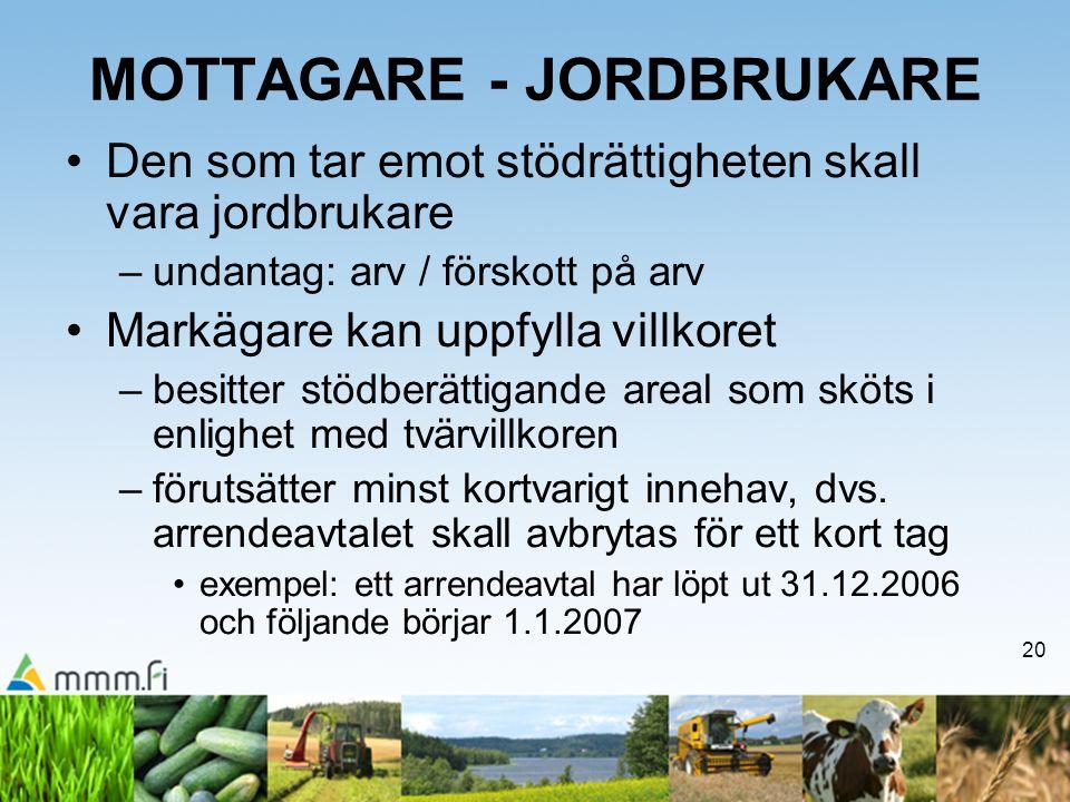 MOTTAGARE - JORDBRUKARE