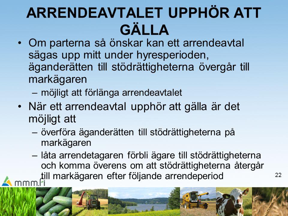 ARRENDEAVTALET UPPHÖR ATT GÄLLA