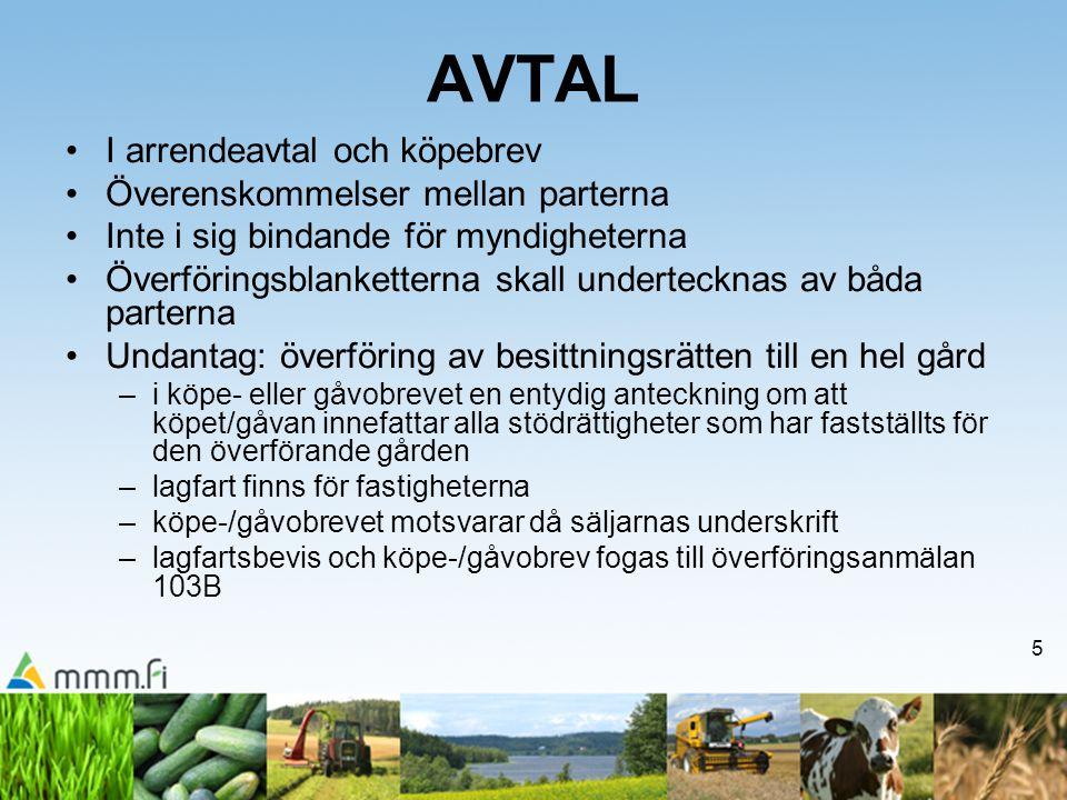 AVTAL I arrendeavtal och köpebrev Överenskommelser mellan parterna