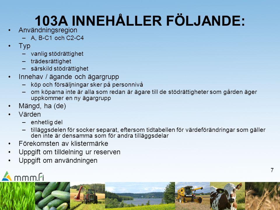 103A INNEHÅLLER FÖLJANDE: