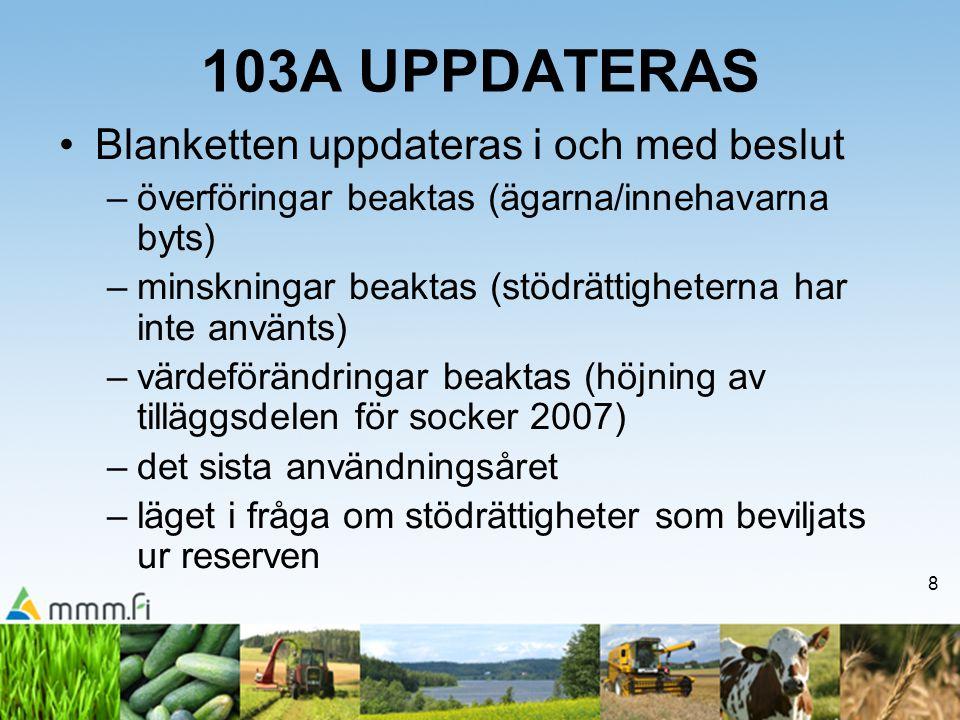 103A UPPDATERAS Blanketten uppdateras i och med beslut