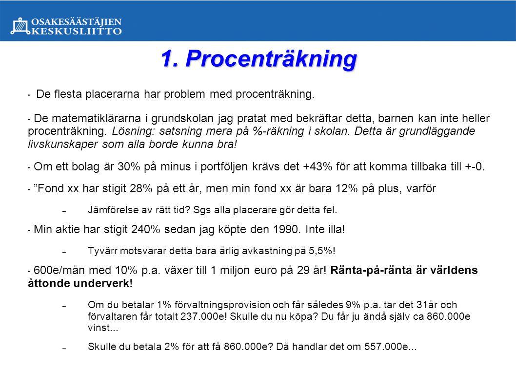 1. Procenträkning De flesta placerarna har problem med procenträkning.