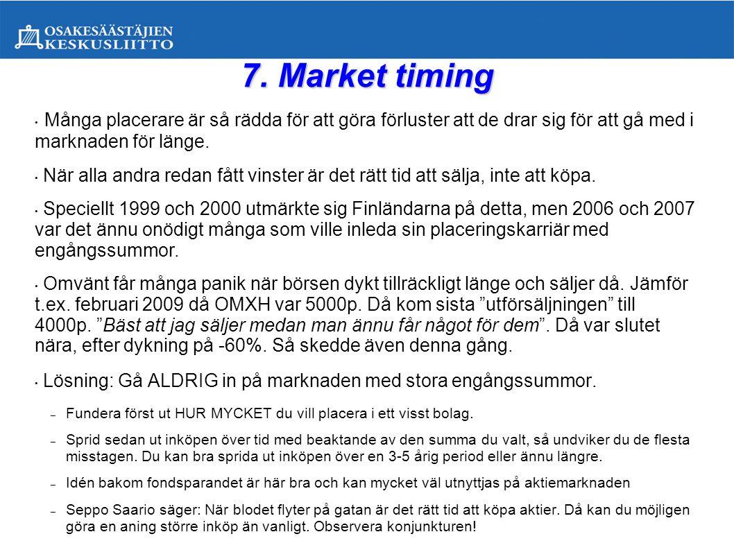 7. Market timing Många placerare är så rädda för att göra förluster att de drar sig för att gå med i marknaden för länge.