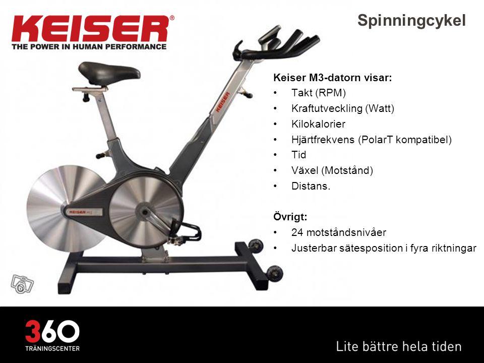 Spinningcykel Keiser M3-datorn visar: Takt (RPM)