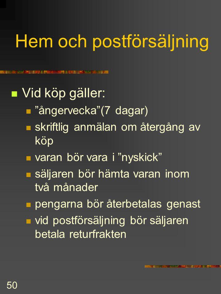Hem och postförsäljning