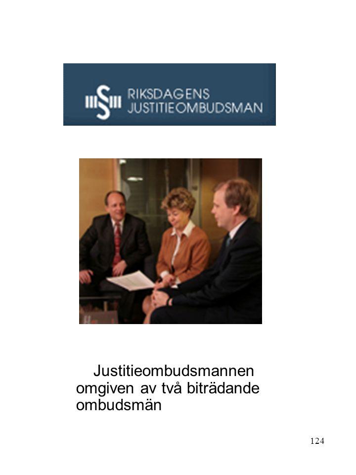 Justitieombudsmannen omgiven av två biträdande ombudsmän