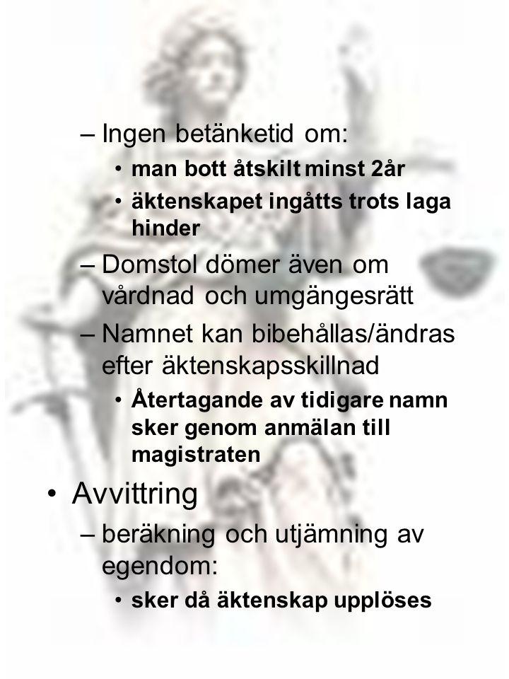 Avvittring Ingen betänketid om: