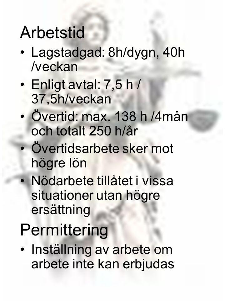 Arbetstid Permittering Lagstadgad: 8h/dygn, 40h /veckan