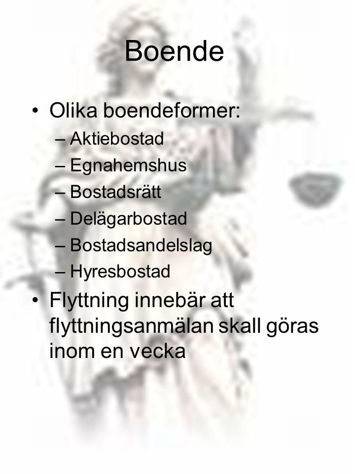 Boende Olika boendeformer: