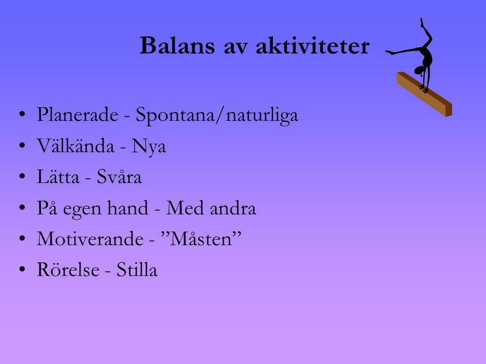 Balans av aktiviteter Planerade - Spontana/naturliga Välkända - Nya