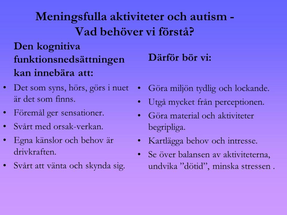 Meningsfulla aktiviteter och autism - Vad behöver vi förstå
