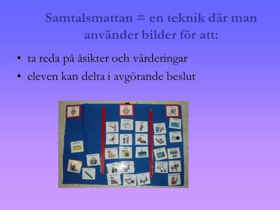 Samtalsmattan = en teknik där man använder bilder för att: