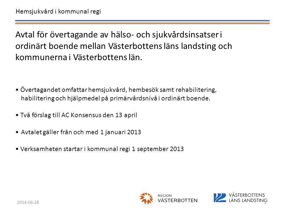Avtal för övertagande av hälso- och sjukvårdsinsatser i ordinärt boende mellan Västerbottens läns landsting och kommunerna i Västerbottens län.