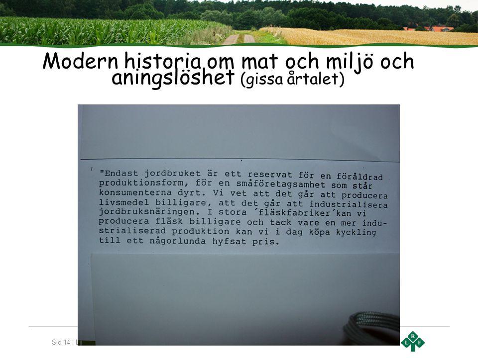 Modern historia om mat och miljö och aningslöshet (gissa årtalet)