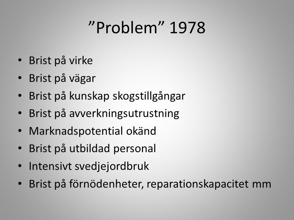 Problem 1978 Brist på virke Brist på vägar