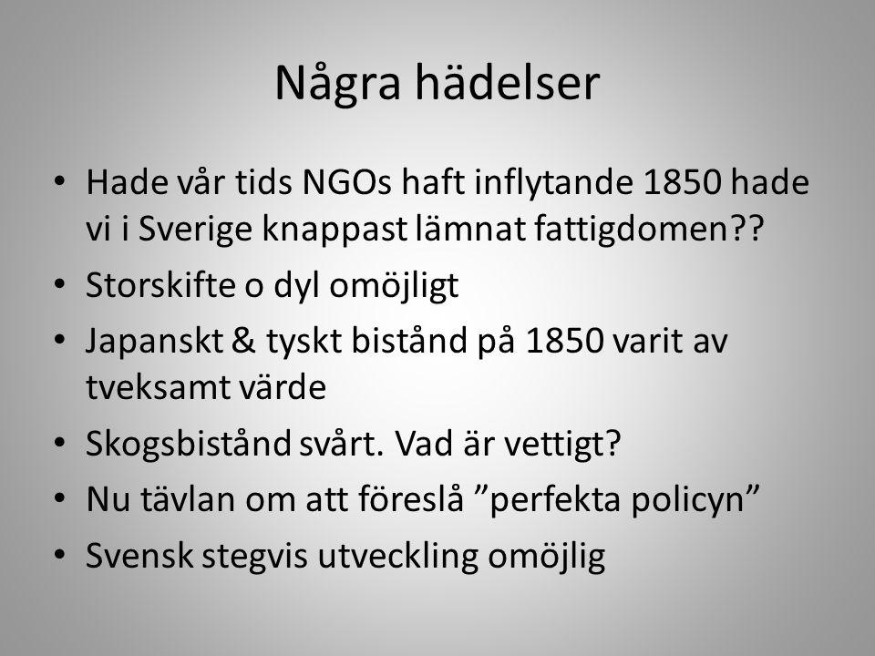 Några hädelser Hade vår tids NGOs haft inflytande 1850 hade vi i Sverige knappast lämnat fattigdomen