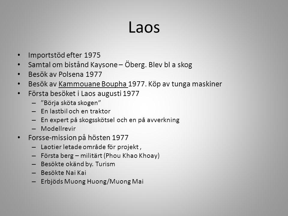 Laos Importstöd efter 1975. Samtal om bistånd Kaysone – Öberg. Blev bl a skog. Besök av Polsena 1977.