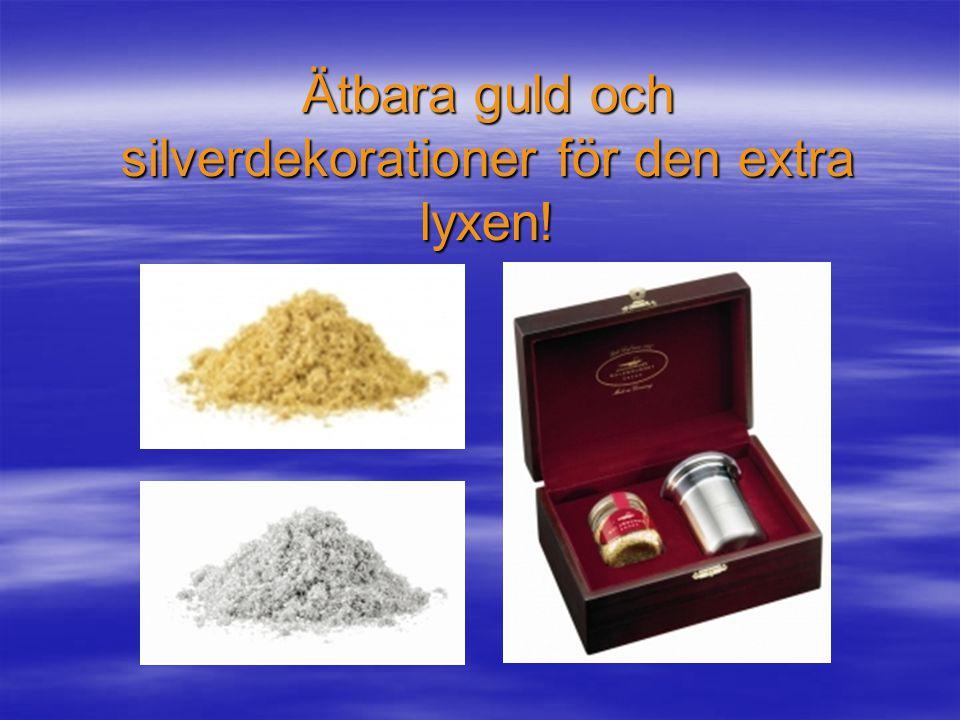 Ätbara guld och silverdekorationer för den extra lyxen!