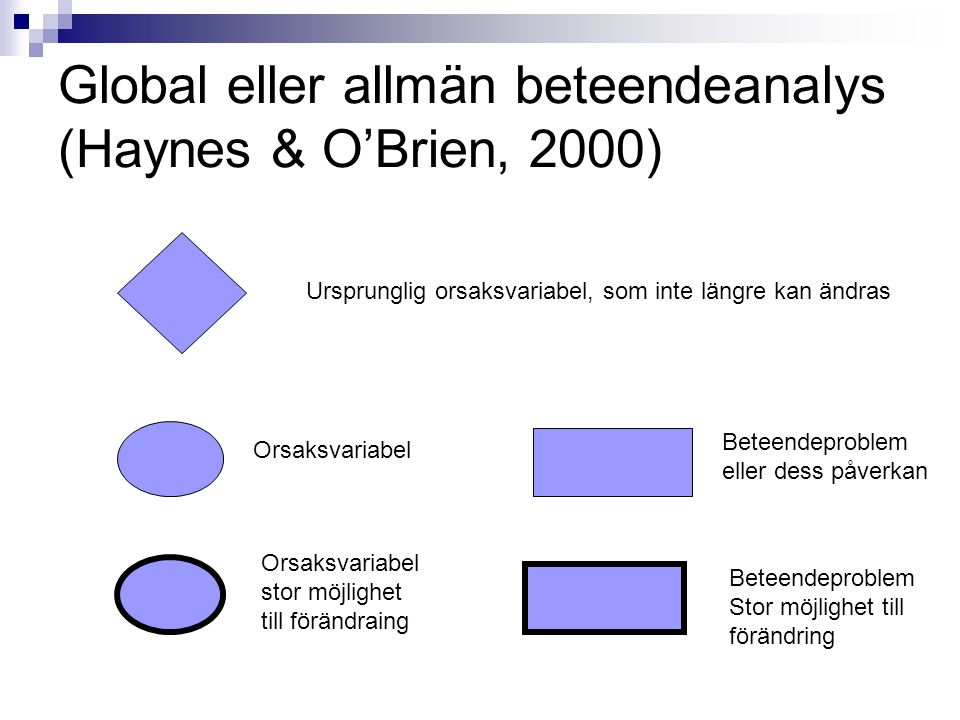 Global eller allmän beteendeanalys (Haynes & O'Brien, 2000)